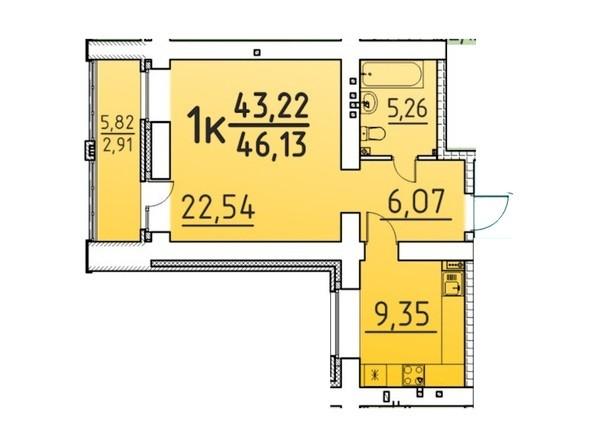 Планировка 1-комн 46,13 м²
