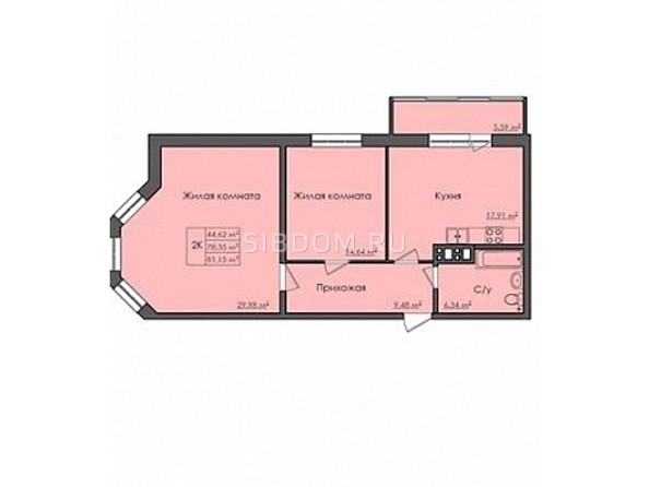 Планировки Жилой комплекс СИБИРЯЧКА - Планировка двухкомнатной квартиры 81 кв.м
