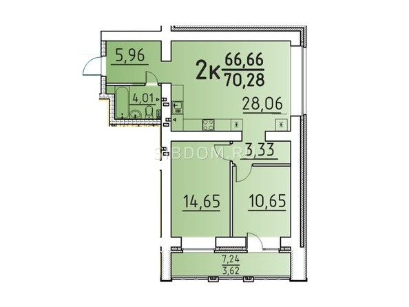 Планировка 2-комн 70,28 м²
