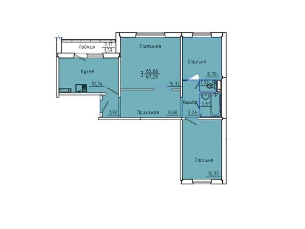 Планировки Жилой комплекс Иннокентьевский, 3 мкр, дом 6 - Планировка трехкомнатной квартиры 67,25 кв.м