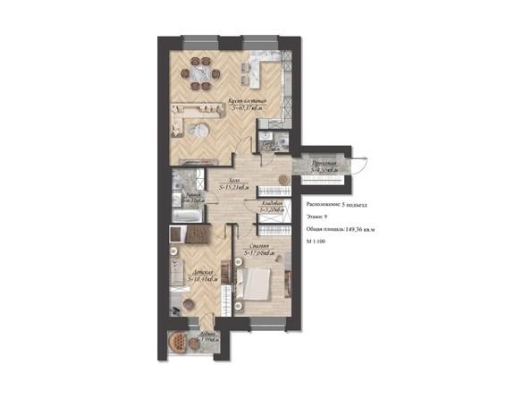 Планировка 3-комн 149,36 м²