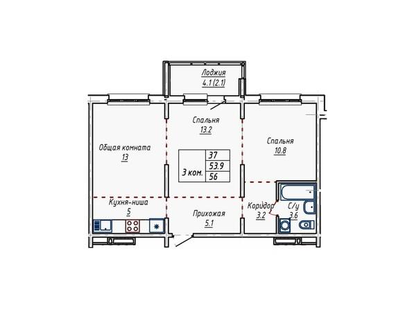 Планировка трёхкомнатной квартиры 56 кв.м