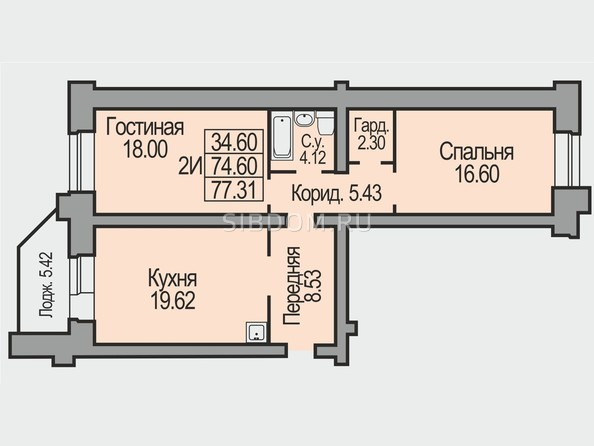 Планировки Жилой комплекс КОСМИЧЕСКИЙ, дом 8 - Планировка двухкомнатной квартиры 77,31 кв.м