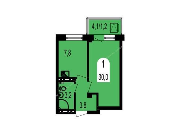 Планировки Жилой комплекс ТИХИЕ ЗОРИ, дом 1 (Красстрой) - Планировка однокомнатной квартиры 30 кв.м