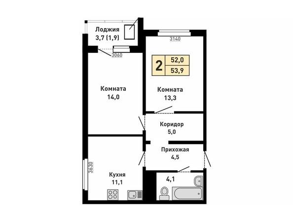 Планировка 2-комн 52, 53,9 м²