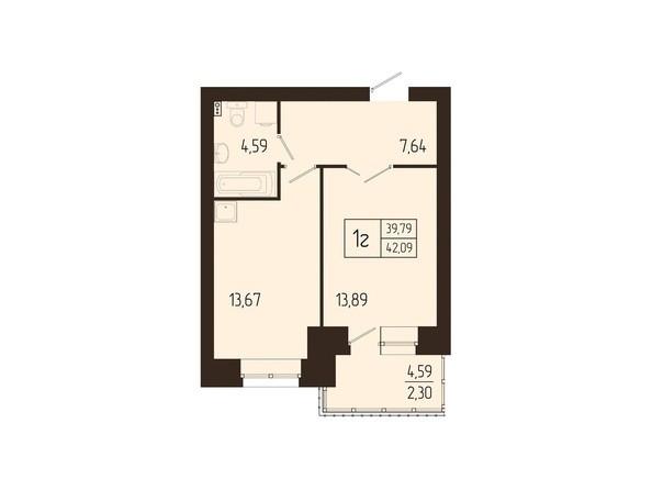 Планировки Жилой комплекс СВОИ ЛЮДИ  - Планировка однокомнатной квартиры 42,09 кв.м