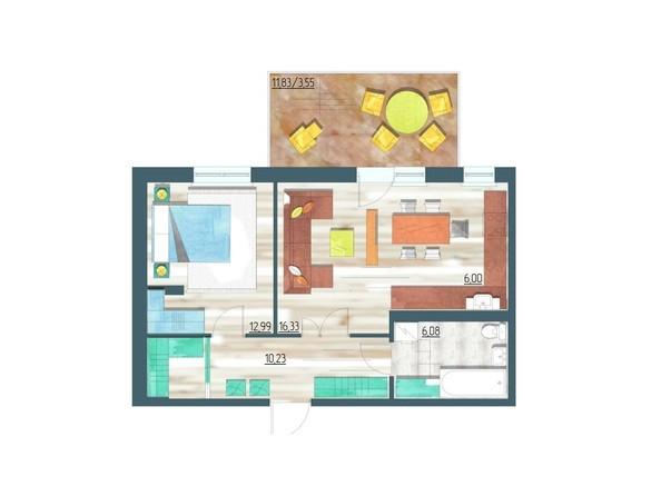 Планировки Жилой комплекс ЖИВЁМ эко-район, 3 квартал, дом 3 - Планировка двухкомнатной квартиры 55,18 кв.м