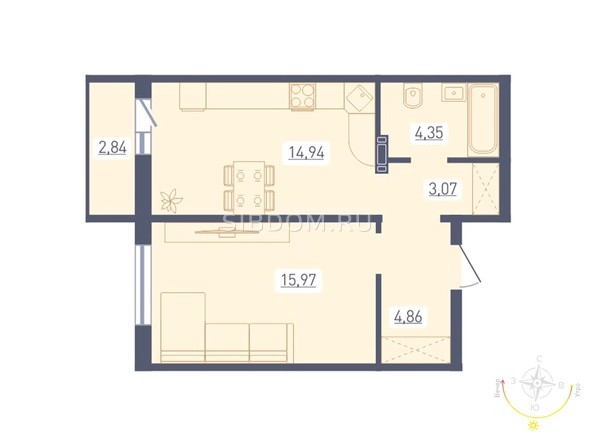 Планировка 1-комн 44,61 - 44,72 м²