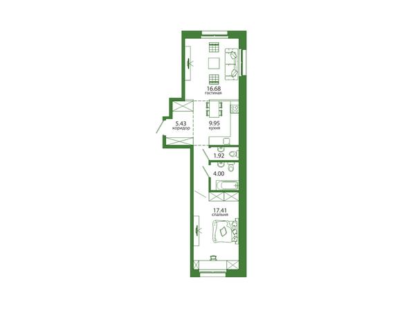 2-комнатная 58,98 кв.м