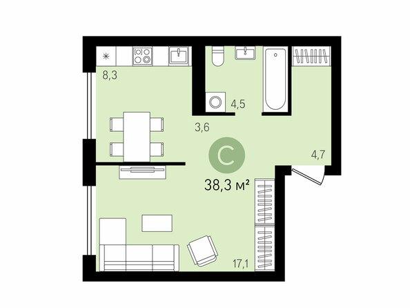 Планировки Жилой комплекс На Декабристов, дом 5 - 1-комнатная 38,3 м2