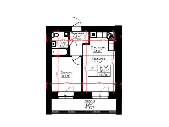 2-комнатная 44.7 кв.м