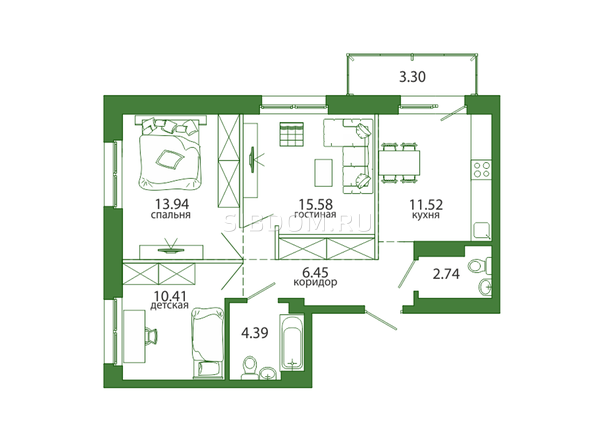 3-комнатная 68,33 кв.м
