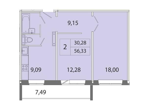 2-комнатная 56.33 кв.м