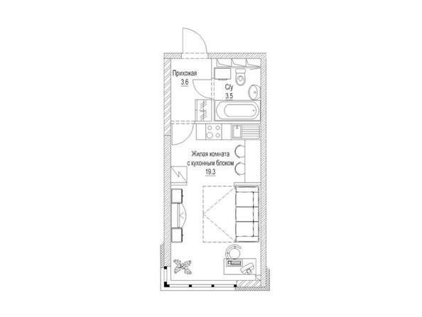 Планировка Студия 28, 28,1 м²