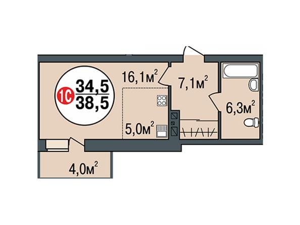 Планировки Жилой комплекс ПОКРОВСКИЙ, б/с 1, 2 - Планировка однокомнатной квартиры 38,5 кв.м