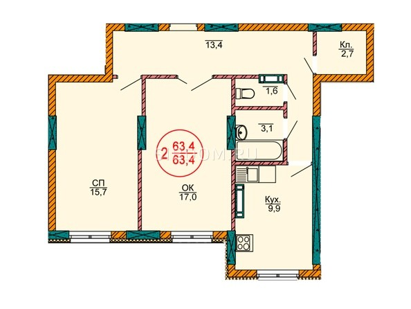 2-комнатная 63.4 кв.м