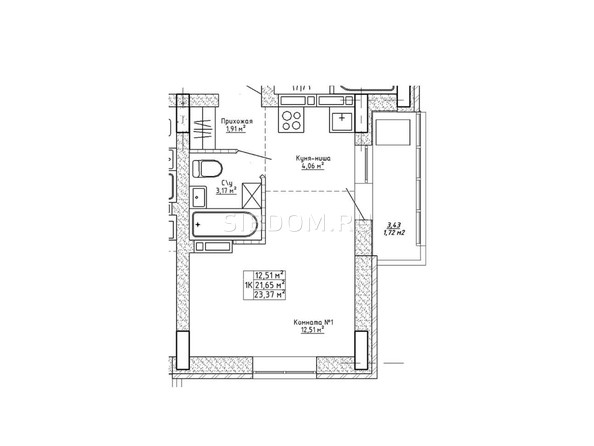 Планировки Ленина, 123 - Планировка однокомнатной квартиры 23,37 кв.м