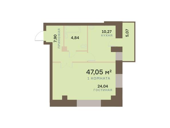 Планировки Жилой комплекс БОГРАДА 109, дом 1 - Планировка однокомнатной квартиры 47,05 кв.м