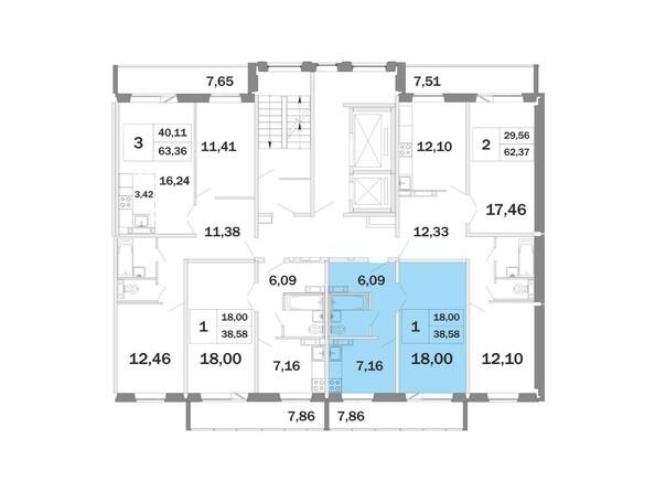 Планировки Жилой комплекс РАДОНЕЖСКИЙ, КПД-11 - Планировка однокомнатной квартиры 38,58 кв.м