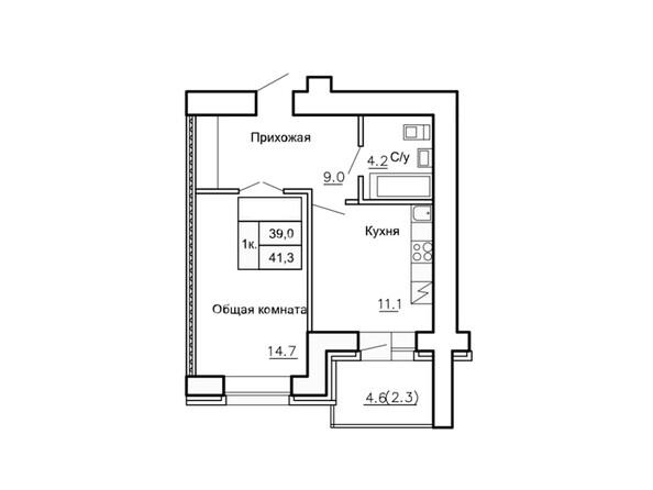 Планировки Жилой комплекс НОВАЯ ПРИСТАНЬ, дом 4 - Планировка однокомнатной квартиры 41,3 кв.м