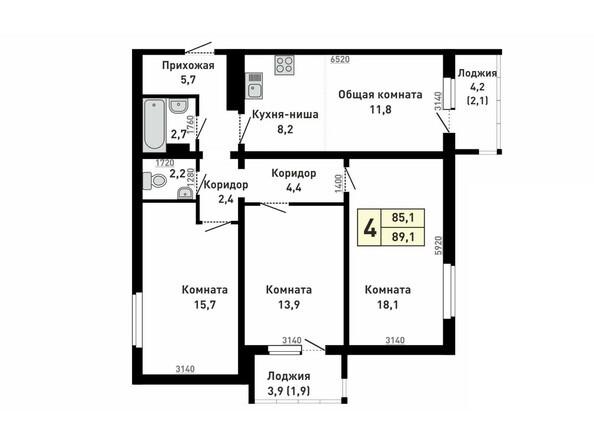 Планировка 4-комн 89,1 м²