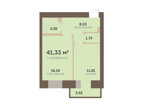 Планировка 1-комн 41,33 м²