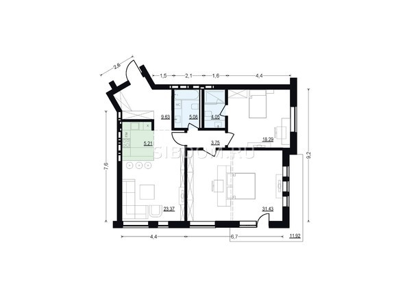 Планировки Жилой комплекс ЖУКОВКА, б/с 7,8 - Планировка трехкомнатной квартиры 100,81 кв.м