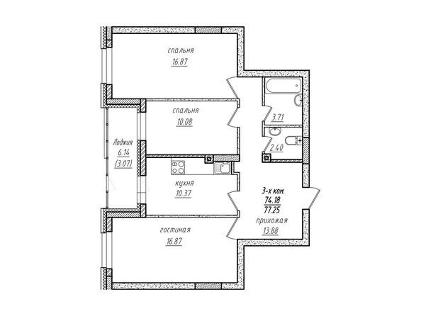 3-комнатная 77.25 кв.м