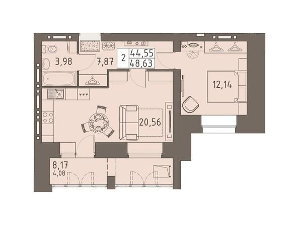 Планировки ВАВИЛОВСКИЙ ДВОРИК - 2-комнатная 48,63 кв.м