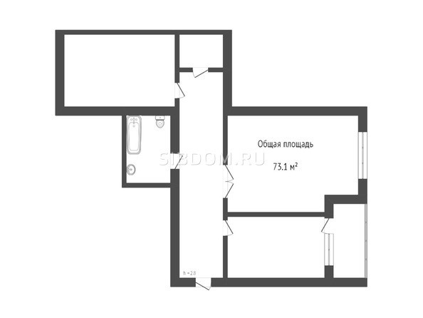 Планировка 2-комн 73,1 м²