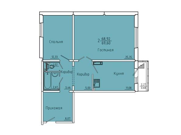 Планировки Жилой комплекс Иннокентьевский, 3 мкр, дом 6 - Планировка двухкомнатной квартиры 69,6 кв.м