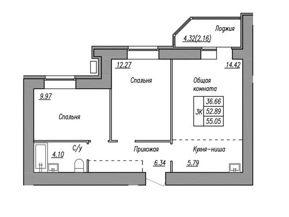 Планировка 3-комн 55,05, 55,98 м²
