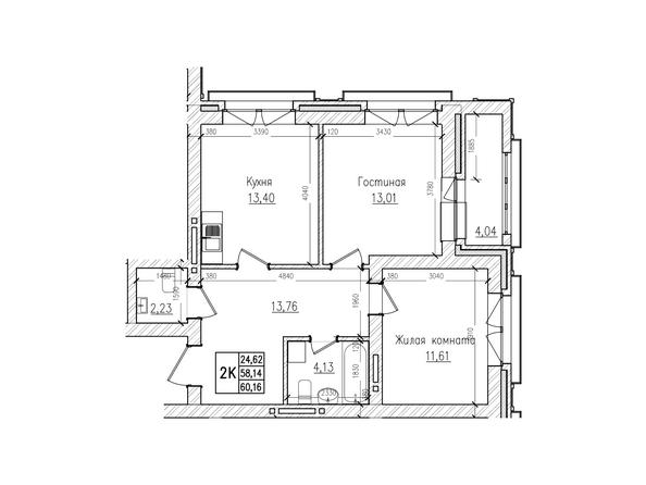 Планировки Жилой комплекс КРАСНЫЙ ПРОСПЕКТ, дом 4 - 2-комнатная 58,1 кв.м
