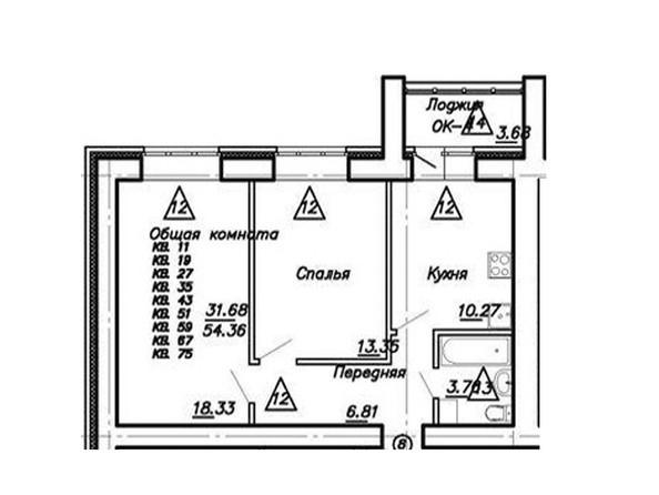 2-комнатная 56.36 кв.м