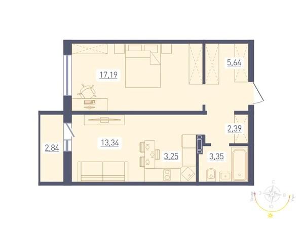 Планировка 2-комн 46,58 - 46,69 м²