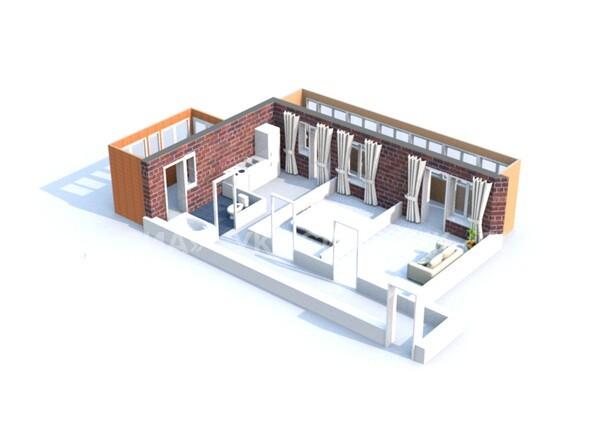 Планировки Жилой комплекс ГЛОБУС, дом 8 - 3d-макет двухкомнатной квартиры 56,17 кв.м