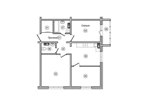 Планировки ВЕРХНИЙ БУЛЬВАР-2, дом 60, корпус 1 - 3-комнатная 70 кв.м