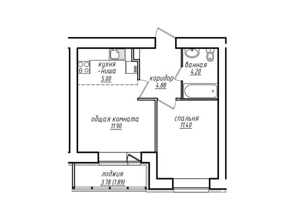 2-комнатная 39,27 кв.м