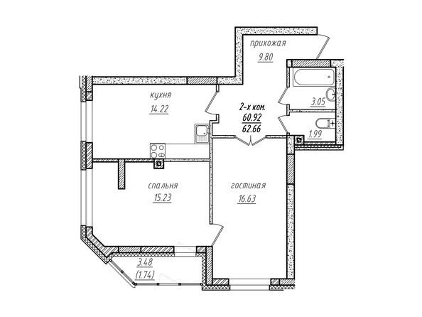 2-комнатная 62.66 кв.м