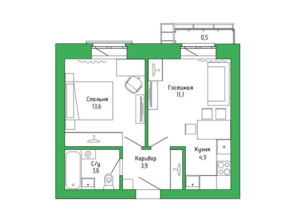 Планировка 2-комн 37,37 м²