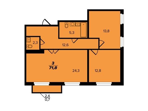 Планировка 3-комн 71,8 м²