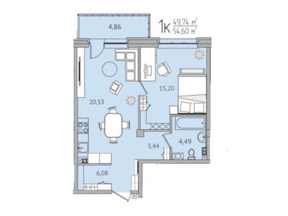 1-комнатная 54,60 кв.м