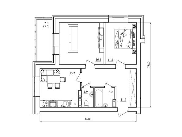 Планировки Жилой комплекс РЕЧКУНОВСКИЙ, дом 10 - Планировка двухкомнатной квартиры 60,3 кв.м