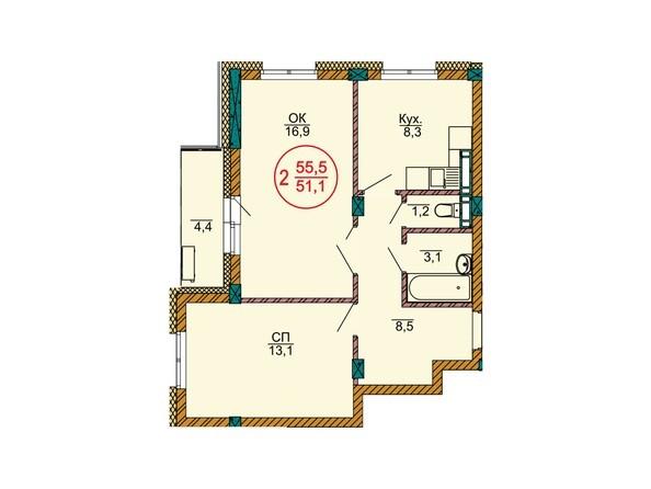 Планировки Жилой комплекс НОВЫЕ ЧЕРЁМУШКИ - Планировка двухкомнатной квартиры 55,5 кв.м