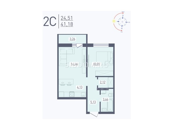 Планировка 2-комн 41,18 м²