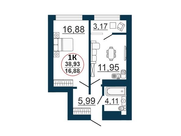 Планировка 1-комн 38,93 - 39,9 м²