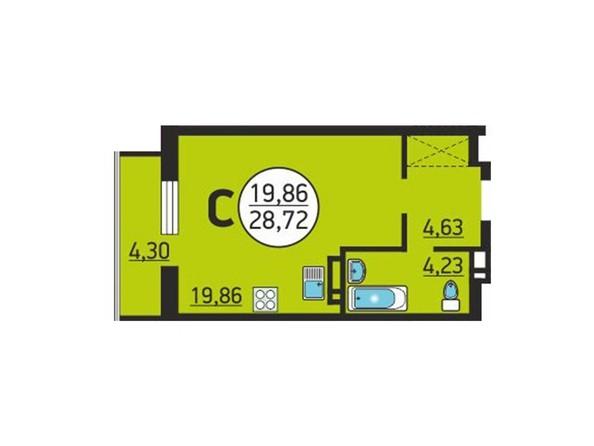 Планировка Студия 28,72 м²