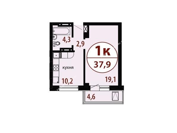 Планировки Жилой комплекс БЕЛЫЕ РОСЫ, дом 25 - Секция 2. Планировка однокомнатной квартиры 37,9 кв.м