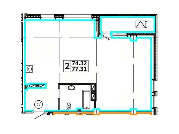 Планировка 2-комнатной квартиры 77,31 кв. м