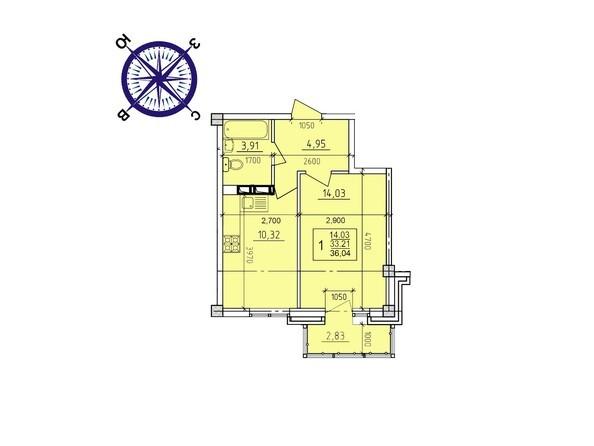 Планировки Жилой комплекс ИРКУТСКИЙ ДВОРИК-2, дом 2 (б/с 7,8,9) - Планировка однокомнатной квартиры 36,04 кв.м